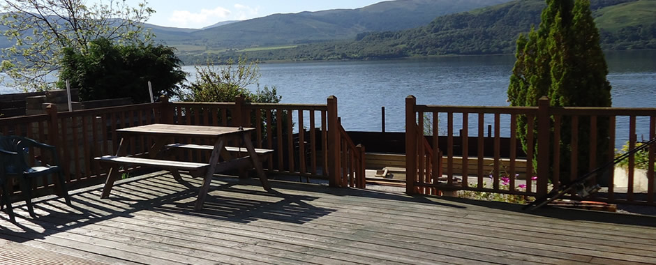 Our decking overlooking Loch Fyne